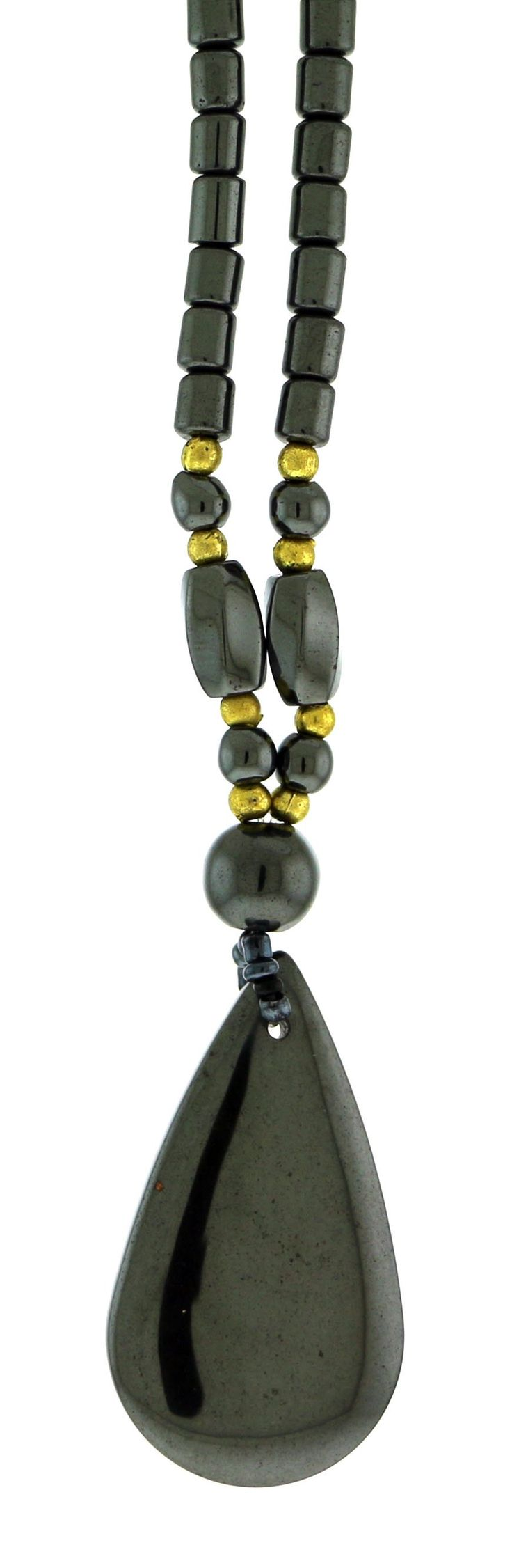 Beaded Hematite Necklace With Tear Drop Shaped Charm And Gold-Tone Bead Accents HN010