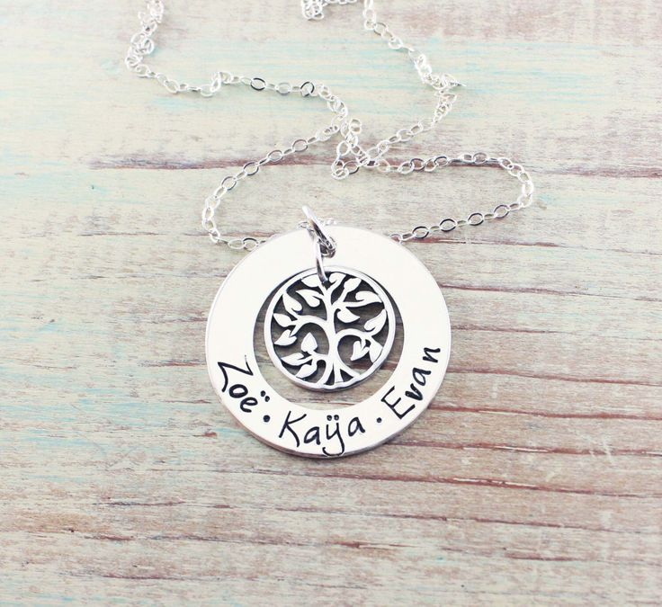 Mommy jewelry - Personalized necklace - Hand stamped sterling silver - Name necklace - Gift for mom - Tree of life - Grandmother jewelry by woobiebeans on Etsy https://www.etsy.com/listing/165091095/mommy-jewelry-personalized-necklace-hand