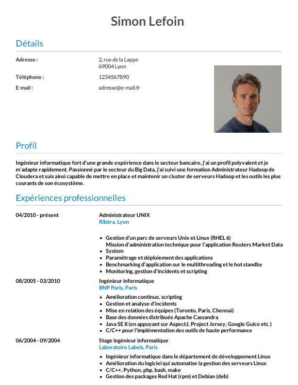 Exemple De Cv Pour Un Ingenieur Cv Wizard Exemple Cv Cv Informatique Ingenieur Informatique