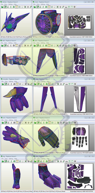 Kamen Rider OOO PutoTyra Costume Template / Pattern Pepakura 3D Model