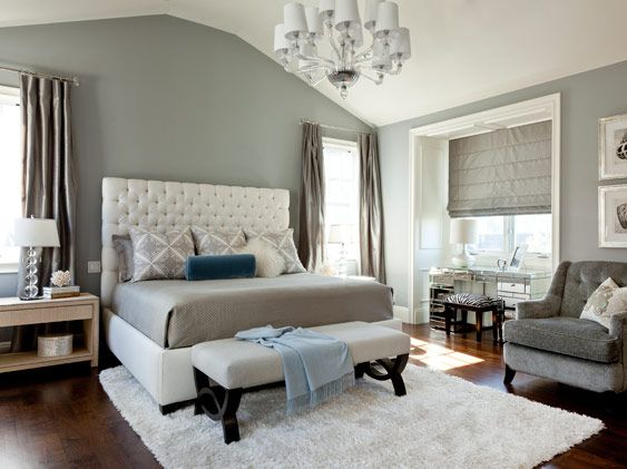 Elegant bedroom grey white and a splash of blue for Blue white and silver bedroom ideas