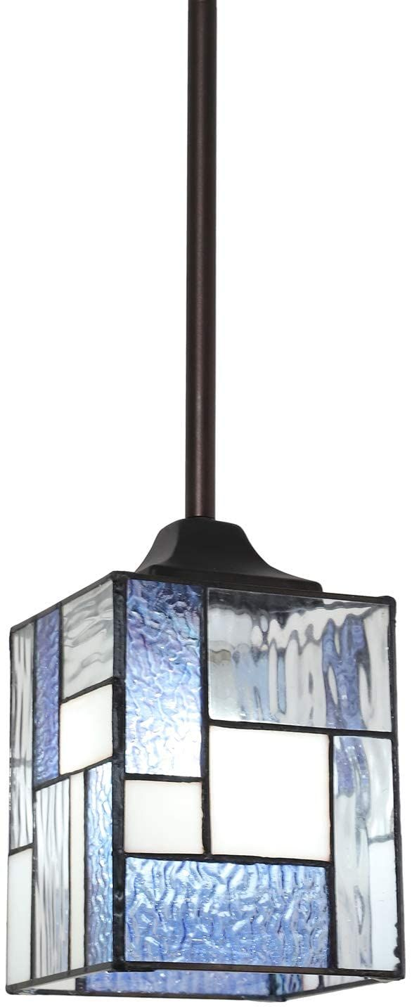Todoluz Stained Glass Hanging Light Fixture With Cuboid Lampshade Tiffany Chandelier Pendant Lig Glass Kitchen Lights Pendant Ceiling Lamp Glass Light Fixture