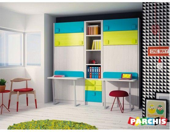23 best literas abatibles en vertical habitaciones for Mueble litera abatible vertical