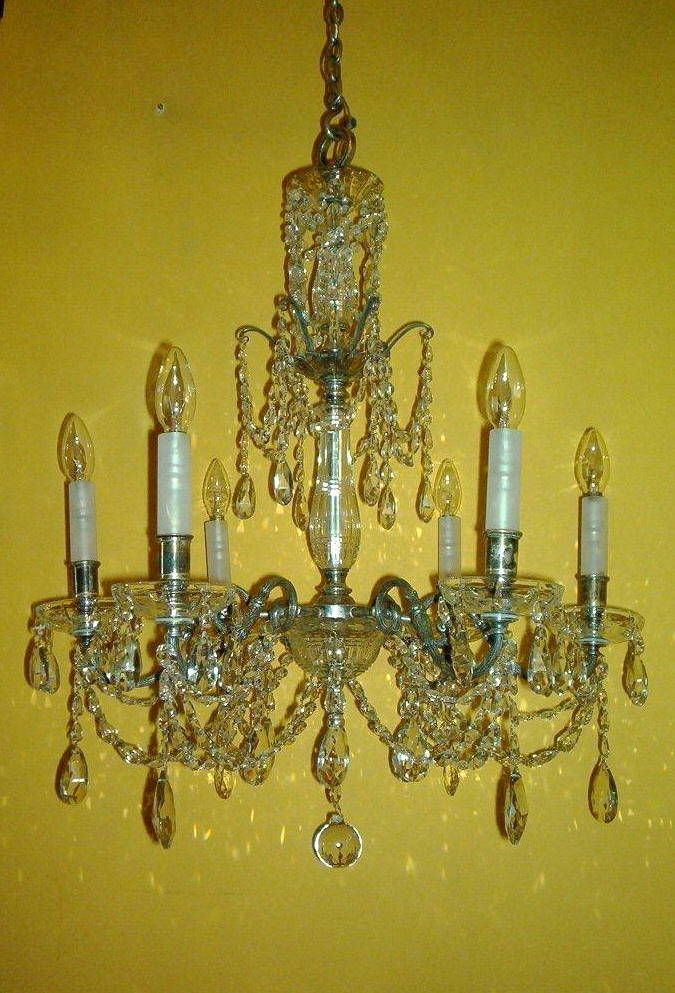 Antique silverplated cut crystal chandelier