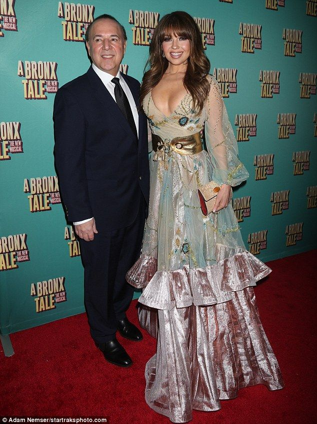 Celebrity couple: Thalia was accompanied to the opening night of the musical A Bronx Tale by her husband Tommy Mottola