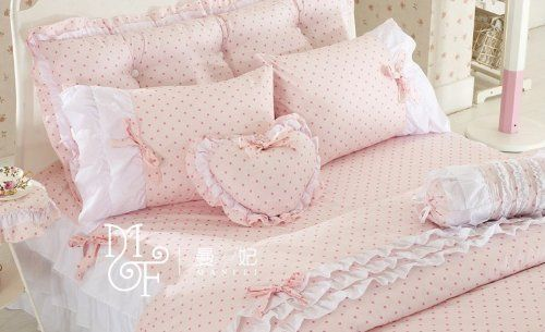 Pink Polka Dot Bedding Sets,Rustic Girls Duvet Cover Set ,Queen Size,4Pcs:Amazon: $120