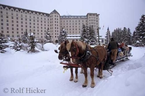 Sleigh rides are a popular activity available at the Fairmont Chateau Lake Louise during the winter months in the Rocky Mountains of Alberta.