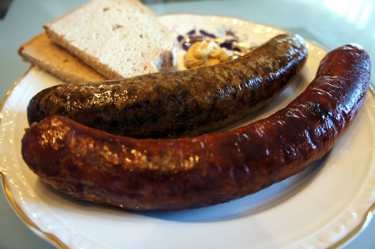 Baked sausages - Hungarian hurka and kolbasz