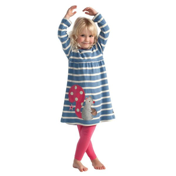 Frugi Παιδικό Απλικέ Φορεματάκι Γαλάζιο Ριγέ – Σκιουράκι - Sunnyside