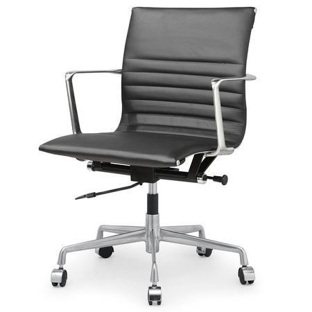Black Italian Leather M346 Modern Office Chairs