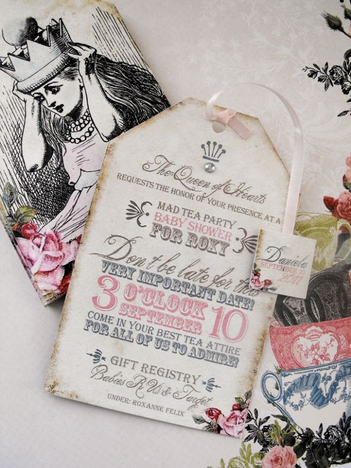I know I've had my Alice in Wonderland/Mad Hatters tea party but I just love the theme, and these invitations are great!