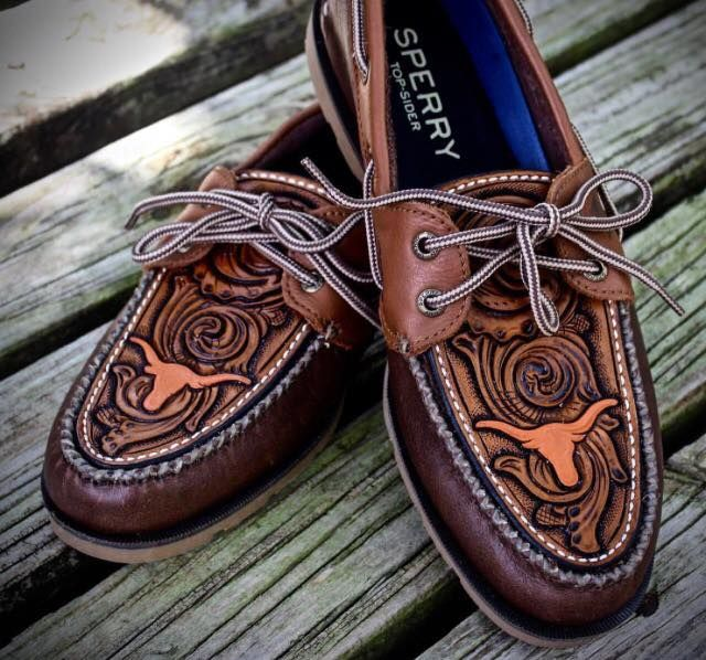 Longhorn Sperry Top-Sider tooled leather