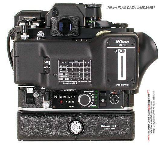 Rear/Back view of a Nikon full setup of Nikon F2AS with MD-2 Motor Drive / MB-1 power pack and EE Aperture control device.