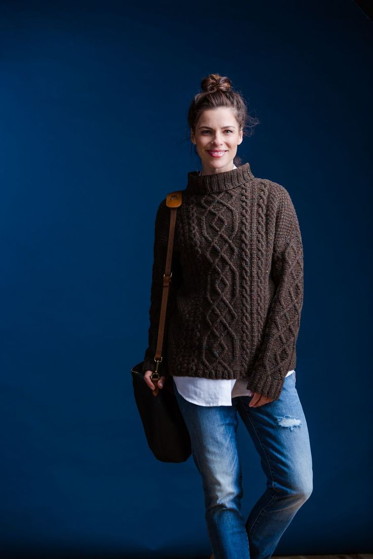 Elegant cable panels twine up the body and sleeves on a ground of moss stitch for a knit that will keep your fingers pleasantly busy. Both masculine and feminine versions of the Vika turtleneck sport a boxy, oversized fit and an exaggerated drop shoulder shaped with increases to bisect the upper arm in a flattering …