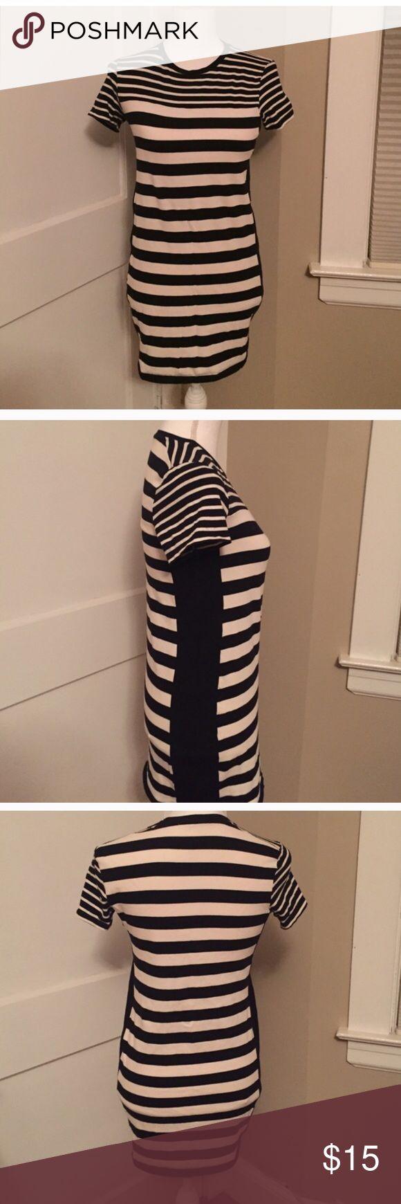 "Zara striped black and white mini dress Casual cotton blend mini dress, 28"" shoulders down. Zara Dresses"