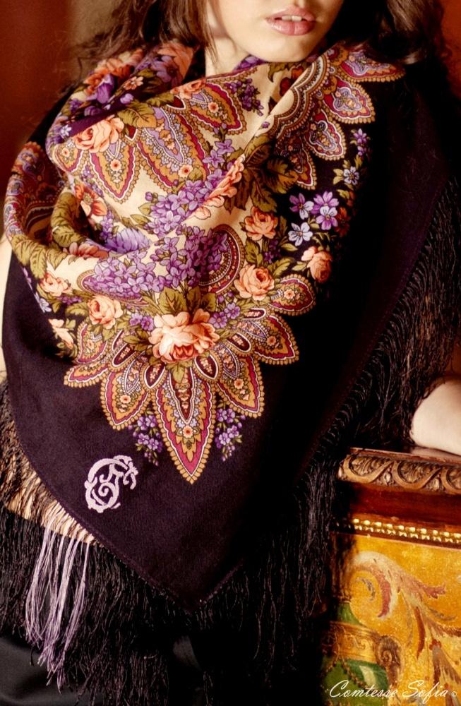Shawl à la russe; Châles à la russe https://www.etsy.com/listing/120669673/foulard-violet-en-laine-russe-finition
