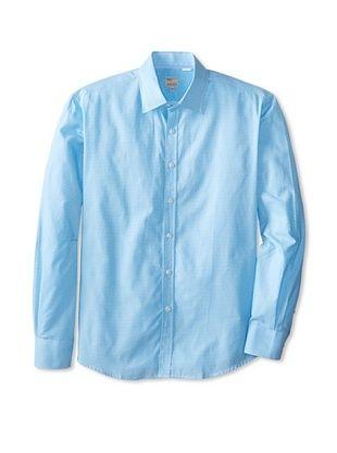 63% OFF Mason's Men's Mini Gingham Long Sleeve Sportshirt (Blue)