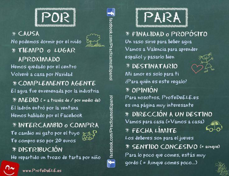 POR ser lunes y PARA que tengáis una feliz semana de aprendizaje, un apunte gramatical sobre las dos preposiciones más necesarias del español. ¡Saludos a tod@s!