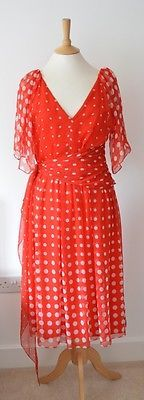 "1970s VINTAGE RED & WHITE POLKA DOT SHEAR FLOATY SUMMER OCCASION DRESS 34"" CHEST"