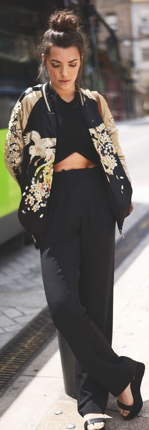 Zara Black And Brown Women's Japanese Print Bomber Jacket by The Fashion Through My Eyes