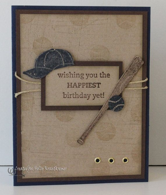 Greeting Card Birthday Baseball Handmade Card by Rubberredneck, $4.95