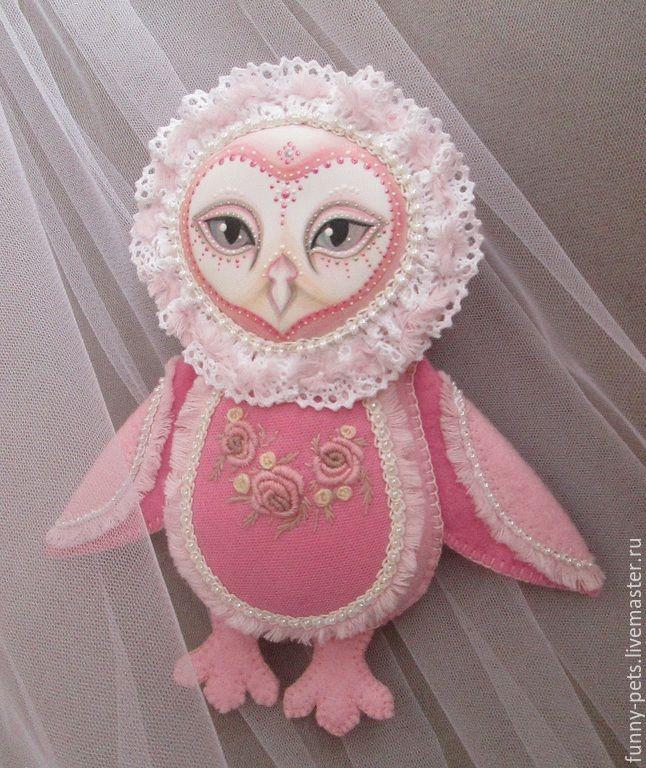 Купить Игрушка Сова. Тётушка Розалия. - розовый, сова, игрушка, розовая сова