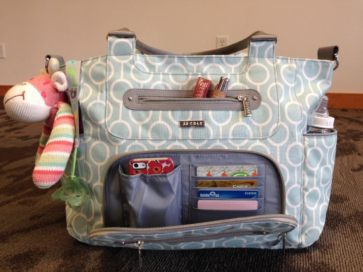 The JJ Cole Caprice in Aqua Radian! Stores everything that baby AND mom needs! #jjcole #diaperbag #caprice