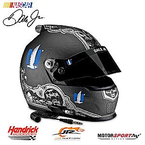 Now you can celebrate NASCAR®'s most popular driver, Dale Earnhardt Jr., and his unforgettable achievements with the Dale Earnhardt Jr. #88 Nationwide Skull Racing Helmet, available from Motorsport Editions™. This NASCAR® full-sized racing helmet looks and feels just like the one worn by Dale Jr. on race day!