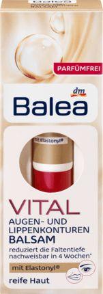 Balea VITAL Augen- und Lippenkonturen Balsam ist eine Pflege zur gezielten Minimierung von Mimikfalten – die Partien um Lippen, Augen und Stirn werden...