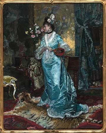 Rogelio de Egusquiza  Barrena  (1845 – 1915)  Lady in blue satin,  1873,  oil on canvas  31 1/2 x 22 5/8 in. by angelica.venegas.351