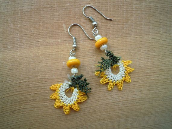 yellow flower earrings, needle lace
