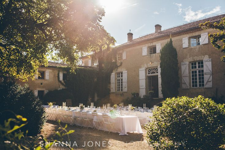 The chateau courtyard ready for the guests. Photography by Shanna Jones