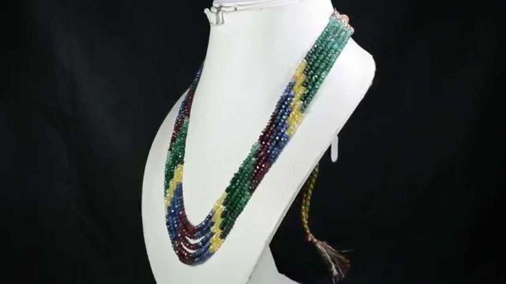 5 Strands Natural Ruby Emerald Sapphire 318ct Multi Row Gemstone Beads N...