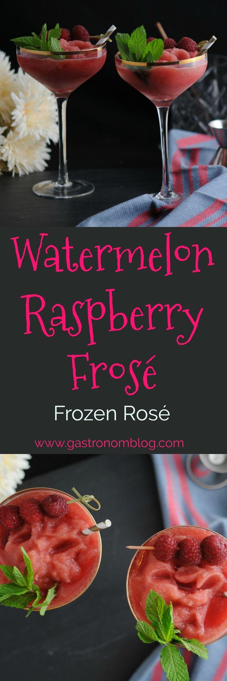 Watermelon Raspberry Frosé, Frozen Rosé.   Sparkling Rose, Rose champagne, frozen watermelon, frozen raspberries, lemon juice, cocktails, craft cocktails, cocktails, recipe, easy, summer, summer cocktails, drinks to cool off with, recipes