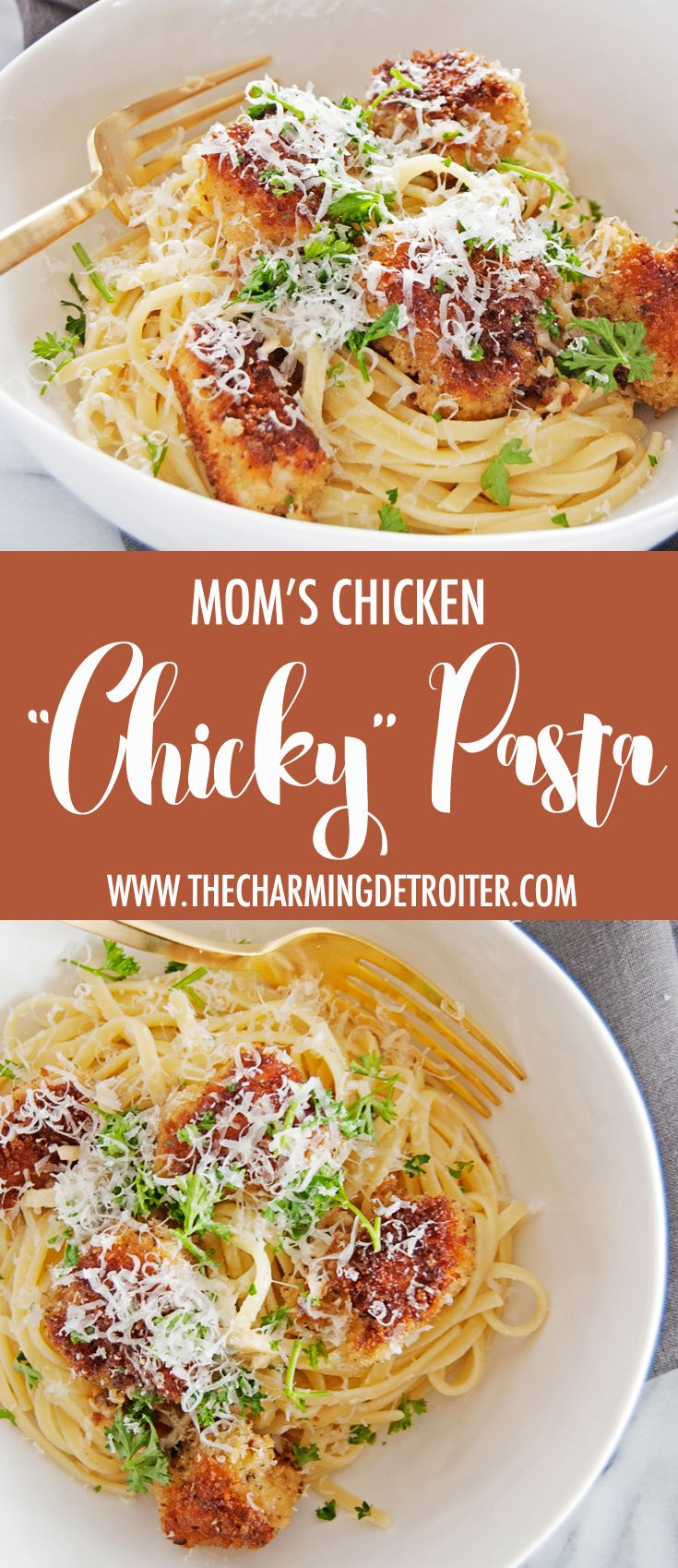 "My mom's famous chicken ""chicky"" pasta recipe is an oldie but goodie, with panko…"