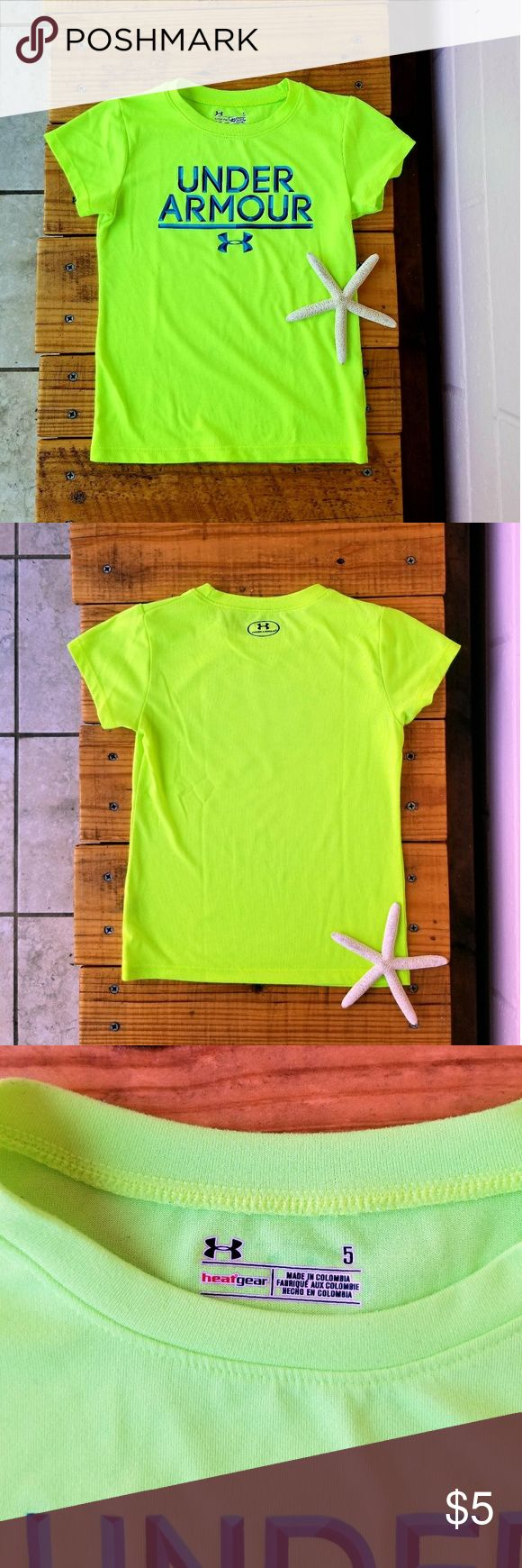 "under armour • tee About: •brand: Under Armour •size: 5t •color: neon green •short sleeves •stretchy material •100% polyester •euc with plenty of life left •comes from a smoke-FREE home  Measurements: •length: 17"" Under Armour Shirts & Tops Tees - Short Sleeve"