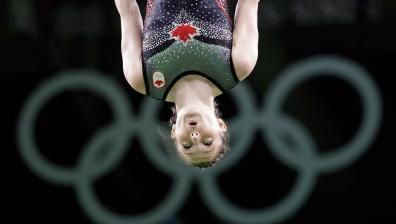 Rosie MacLennan at the 2016 Rio Olympics       Canada's Rosie MacLennan repeats as Olympic trampoline champion