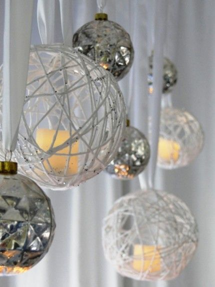 Diy hanging ornament candle chandelier christmas for Hanging candles diy