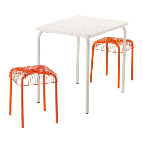IKEA - VÄDDÖ / VÄSTERÖN, Table and 2 stools, outdoor, , Takes little room to store as the table folds flat and the chair is stackable.The materials in this outdoor furniture require no maintenance.