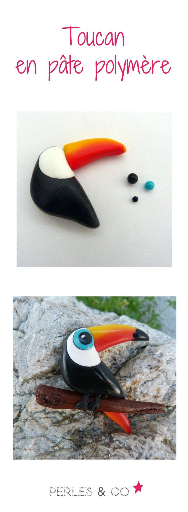 Retrouvez le tutoriel en pâte polymère pour réaliser un joli toucan. cet oiseau exotique pourra être monté en broche ou bien posé en décoration