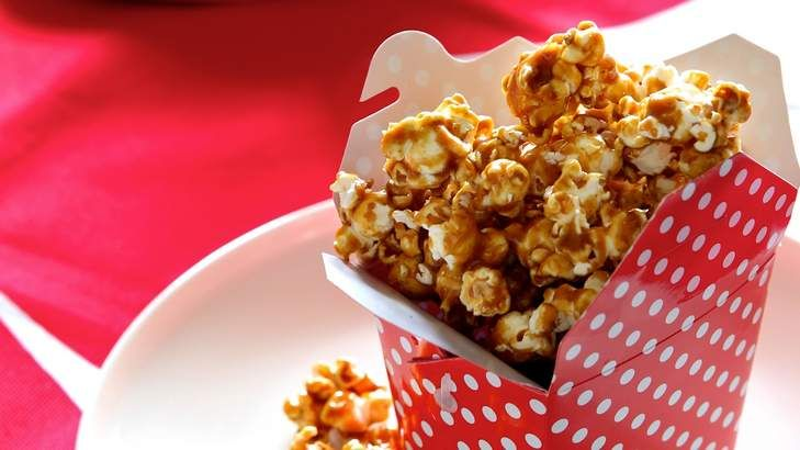 Salted caramel popcorn makes a great movie snack, or use as a garnish on cake, dessert, meringue, ice-cream or chocolate mousse.