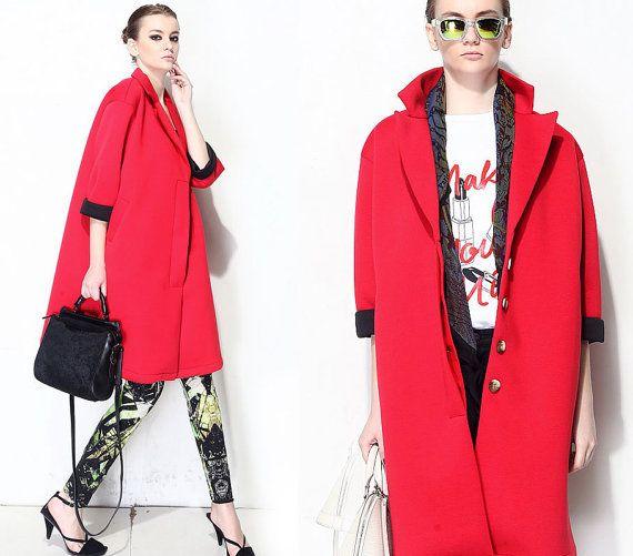 Red Jumbo Cotton Coat
