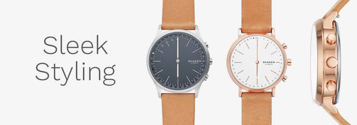 The Jorn Connected slim hybrid smartwatch combines innovative technology with classic design. Features include automatic time and date adjustment, activity and goal tracking, sleep tracking, filtered email, call, and text notifications, dual-time function and SKAGEN LINK technology, which allows the wearer to snap a photo, control their music and more—all with the push of a button. Jorn Connected is compatible with Android?? phones and iPhone® and syncs wirelessly to the SK...