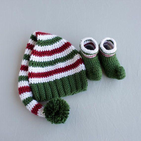 Niño conjunto de Elf, Crochet Elf Set, sombrero de elfo y zapatos, Navidad sombrero, sombrero de elfo, Navidad zapatos, zapatos de elfo, zapatos de niño elfo, elfo foto Prop.  Para ayudante de Santa!  Zapatillas de elfo de Navidad pequeño y un sombrero. Elástico y cómodo. Para