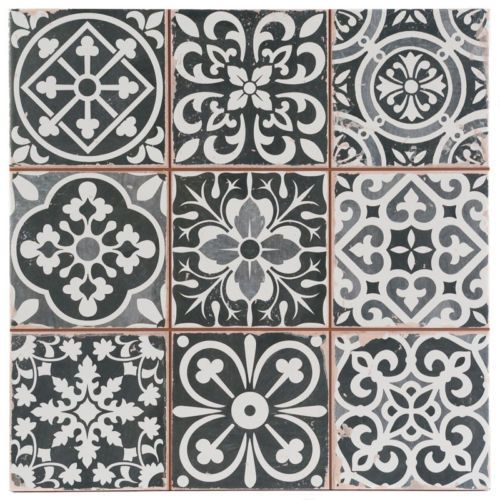 victorian marrakesh black decor wall floor tile 33x33cm - Tile Decor
