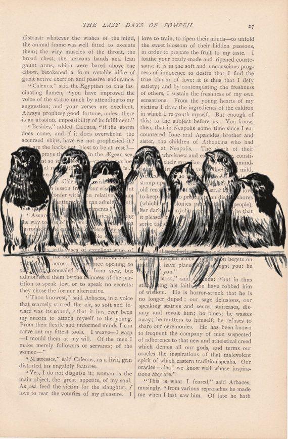 dictionary art bird print vintage BIRDS on a WIRE no. 2 print - vintage art book page print - bird dictionary art page print. $9.00, via Etsy.