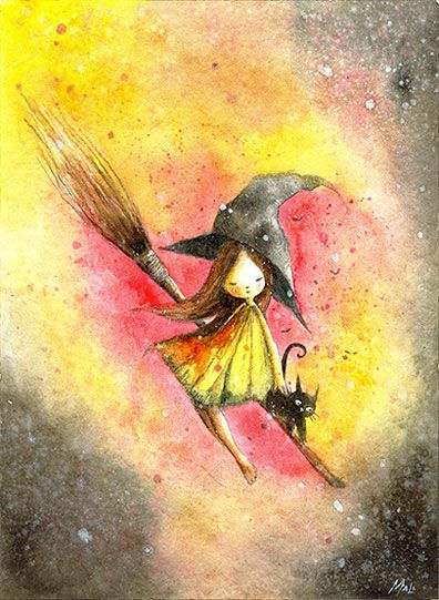 Black Kitty Cat leads the way to Halloween. Witch girl - MayAnn Licudine