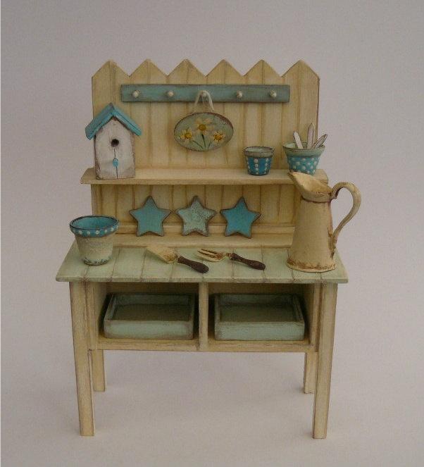 shabby chic potting bench nikki 1 12 dolls house garden