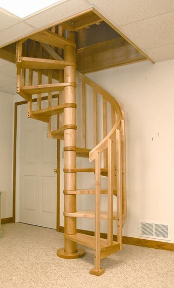 This would fit the rustic look of a log cabin nicely, but I wonder how a wooden spiral staircase would hold up over time?