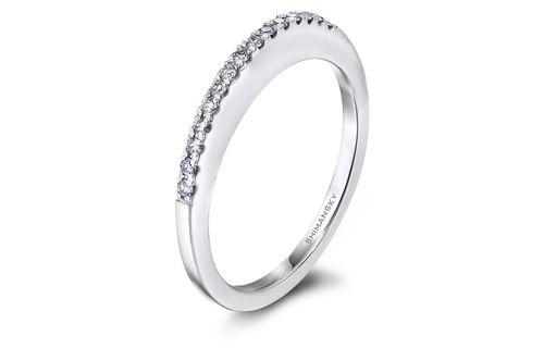 Millennium wedding band in white gold with microset diamonds
